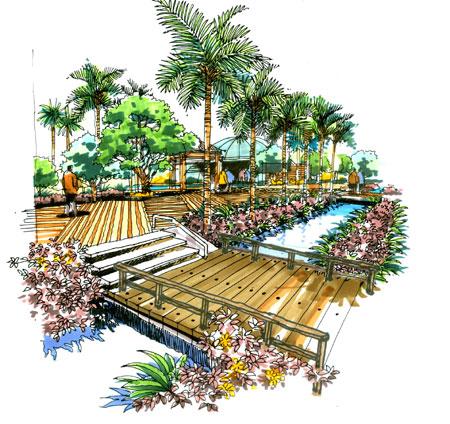 植物园手绘效果图高清